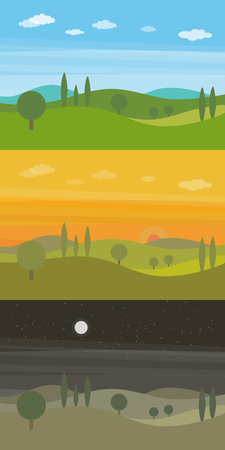 Set of three vector flat landscapes with green hills and trees and clouds in the sky in three different times of day Illustration