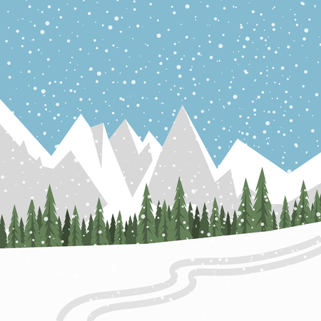 Flat vector landscape with silhouettes of trees, hills and mountains with falling snow. 矢量图像