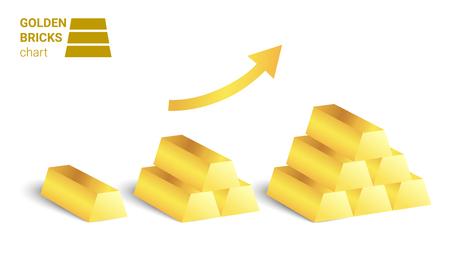 Golden bricks growing chart vector on white background. Illustration