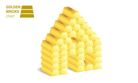 Golden bricks house vector on white background. Illustration