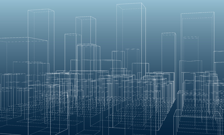 City silhouettes outline vector on blue background.