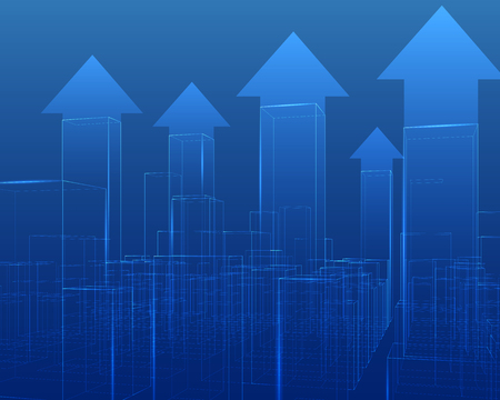 City with skyscrapers outline vector growing chart. Illustration