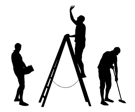 Vector set of domestic housework silhouettes of men figures. Illustration