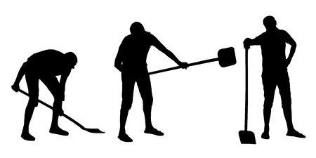 Vector silhouettes set of a man digging with a shovel.