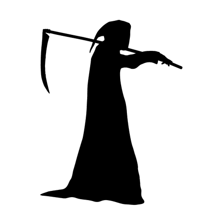 Vector silhouette of death in a hood holding a scythe over shoulder.
