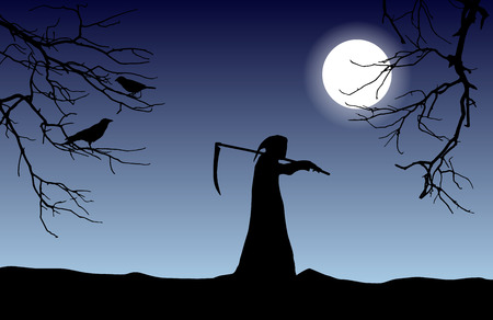 Vector silhouette of death in a hood holding a scythe over shoulder with dead tree branches and crows in front of glowing moon.