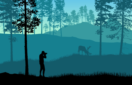 Blue landscape vector with a man taking picture of a deer in a forest.