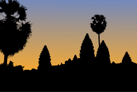 Vector silhouette of Angkor Wat temple in Cambodia with orange sunrise background.
