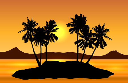 Tropical island landscape vector with palms and yellow sun on orange shaded sky.