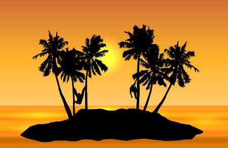 Tropical island landscape vector with monkeys on palms and yellow sun on orange shaded sky.