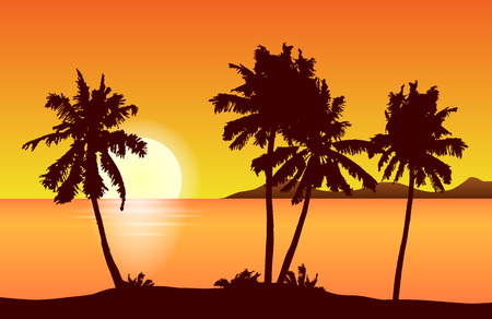 Tropical island landscape vector with palm trees in orange sunset.
