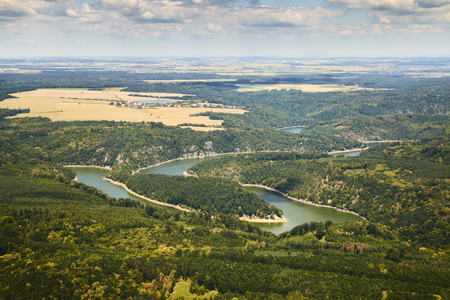 Aerial view of meandering river in Podyji National park in Czech Republic. Stock Photo