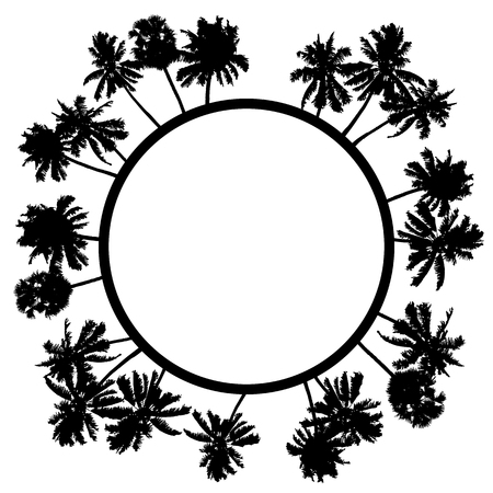 Vector summer poster framed with black palm trees on white background. Illustration