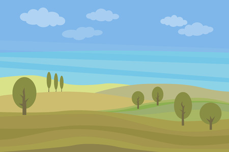 Vector flat landscape with green hills and trees and blue bright sky with clouds.