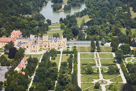 Aerial view of Lednice Valtice Area with a castle and a park in South Moravia, Czech Republic.