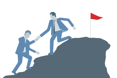 Business flat design vector of a business leader helping a colleague to climb on top of a mountain. Ilustrace