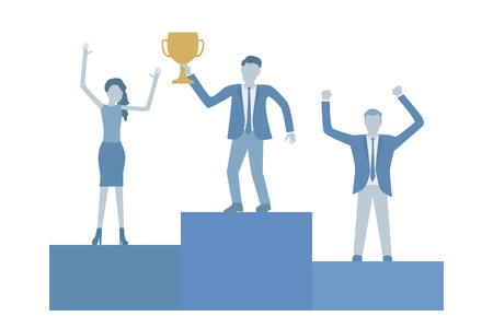 Business flat design vector of businessmen on podium celebrating success.