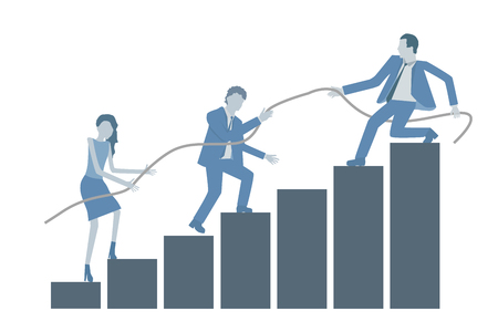 Business flat design vector growing chart with a leader helping colleagues to climb on top.