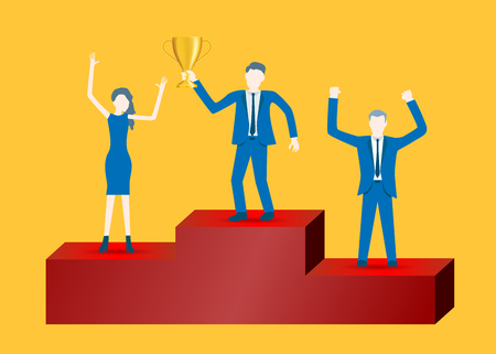 Business flat design vector of businessmen on podium celebrating success.