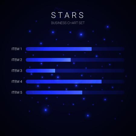 Modern business star vector chart on blue background.