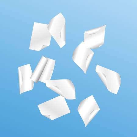 Vector flying shaded white papers on blue background. Vector Illustration