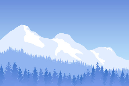 Vector winter forested landscape with mountains in blue color.