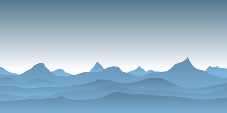 Simple blue vector landscape with misty mountains.