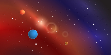 Colorful space vector with planets, stars and nebulae. Illustration