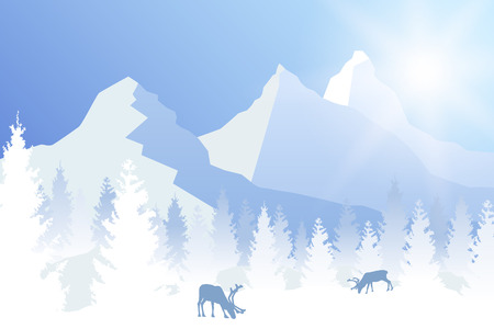 Vector sunny winter forested landscape in blue color with grazing deer and mountains.