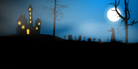 Scary vector haloween landscape with haunted house, graveyard and a death with scythe in full moon.