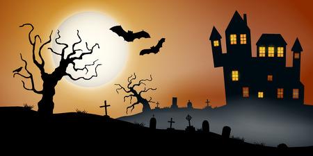 Gruselige Vektor-Haloween-Landschaft mit einem Geisterhaus, einem Friedhof und fliegenden Fledermäusen bei Vollmond. Vektorgrafik
