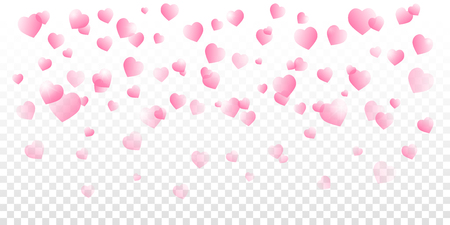 Valentines day vector with pink shaded falling hearts on transparent background.