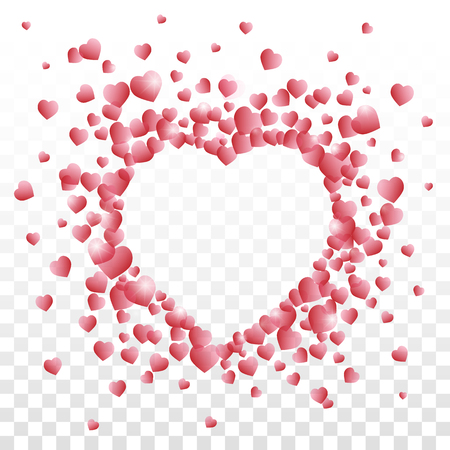 Valentines day vector with a heart sign composed of small red shaded hearts on transparent background.
