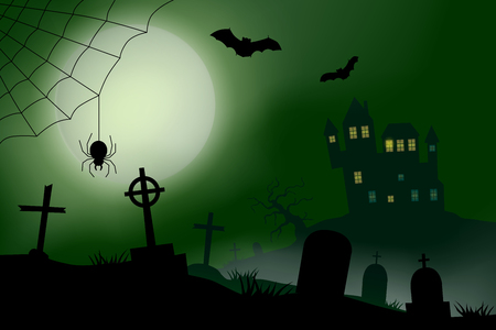 Scary vector haloween landscape with a haunted house, a graveyard and a spider in full moon.