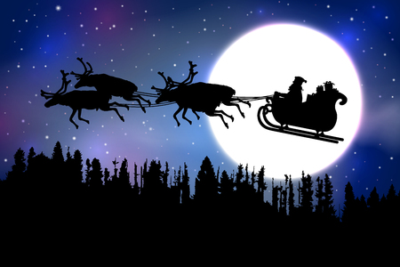 Weihnachtsmann reitet seinen Schlitten mit Rentieren über einen Wald vor Vollmond auf blauem Sternenhimmel Hintergrund.