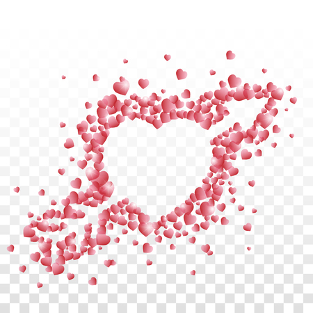 A heart pierced with an arrow composed of small red shaded hearts on transparent background.
