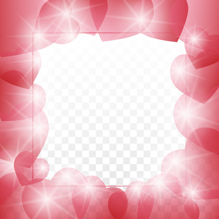 Love letter template lined with small red shaded hearts outline on transparent background.