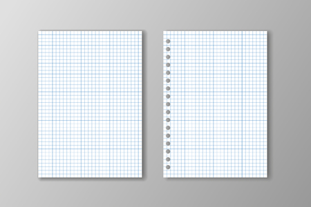 Two white square paper sheets on grey background.
