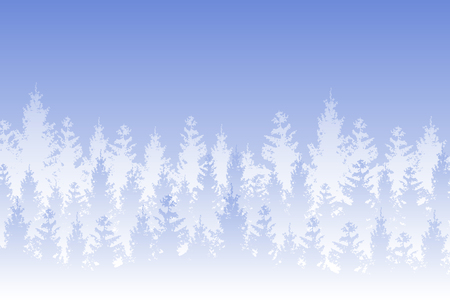 Vector winter forested landscape covered in white snow on blue background. Ilustração