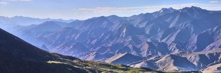 Beautiful colorful panoramic landscape taken from under Kang Yatze mountain in Himalayas, Ladakh, India.