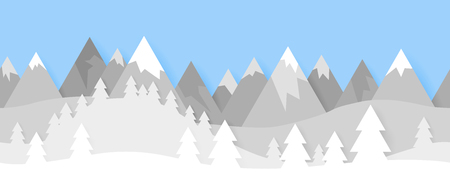 Simple seamless paper cut winter vector landscape with  layered mountains and trees on blue background.