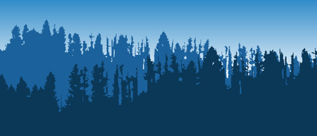 Beautiful blue vector landscape with layered forested mountains.