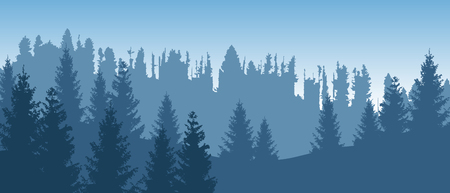 Beautiful blue vector forest landscape with coniferous trees.