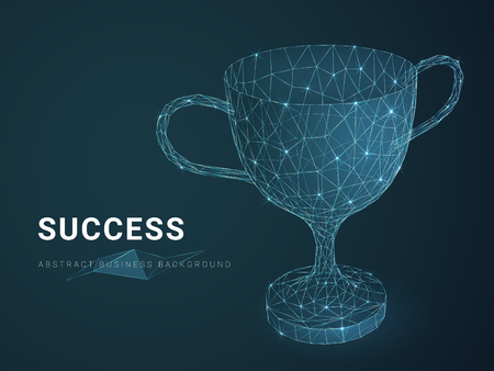 Résumé historique des affaires modernes illustrant le succès avec des étoiles et des lignes en forme de trophée sur fond bleu.