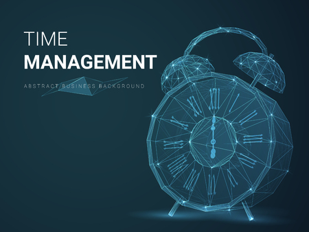 Abstract modern business background vector depicting time management with stars and lines in shape of a vintage alarm clock on blue background.