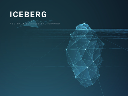 Abstract modern business background vector with stars and lines in shape of an iceberg on blue background. Illustration