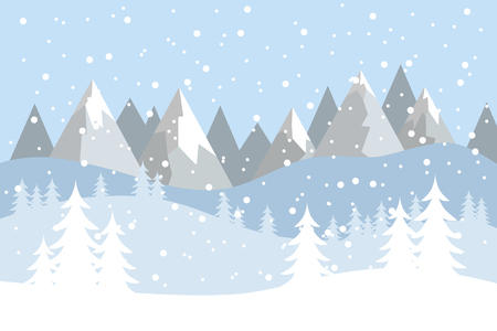 Flat vector landscape with silhouettes of trees, hills and mountains with falling snow. Иллюстрация