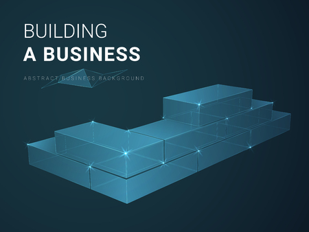 Abstract modern business background vector depicting building a business with stars and lines in shape of a brick wall on blue background.
