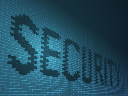 Abstract modern business background vector of a brick wall with holes depicting a security sign on blue background.