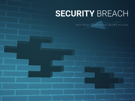 Abstract modern business background vector depicting security breach in shape of a brick wall with holes on blue background.